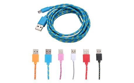 2m Micro USB textilní kabel - 6 barev