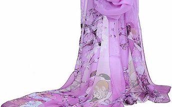 Jemný šifonový šátek - fialová barva - dodání do 2 dnů
