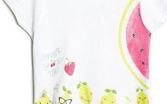 Blue Seven Dívčí tričko s citróny - bílé