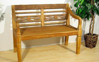 DIVERO dřevěná zahradní lavice pro 2 osoby ve starožitném designu