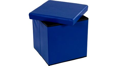 Taburet s úložným prostorem modrý