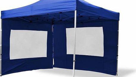 Zahradní párty stan nůžkový PROFI 3x3 m modrý + 2 boční stěny