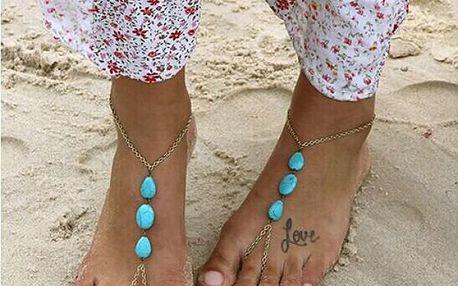 Šperk na nohu s tyrkysovými kamínky Ocean