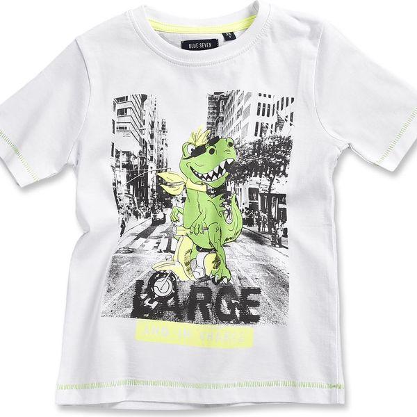 Blue Seven Chlapecké tričko s dinosaurem - bílé