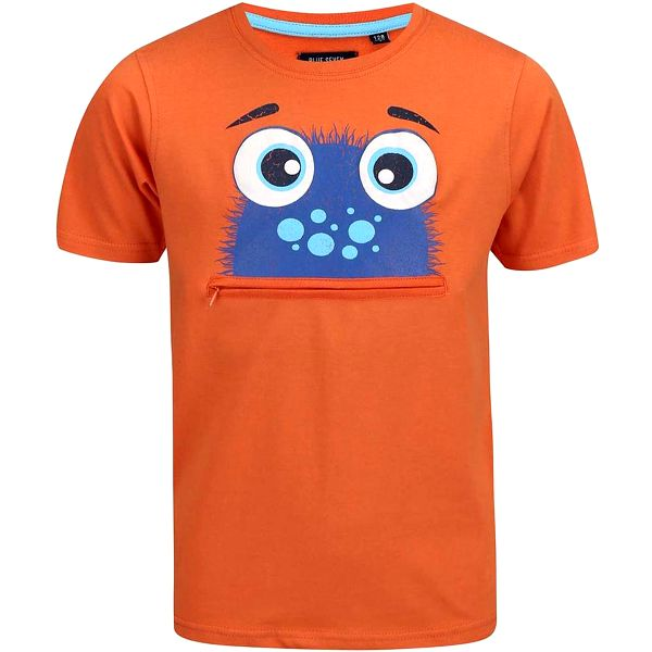 Blue Seven Chlapecké tričko s potiskem a kapsičkou - oranžové