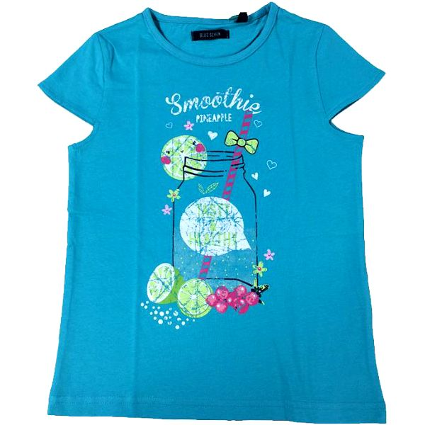 Blue Seven Dívčí tričko se smoothie - zelenomodré