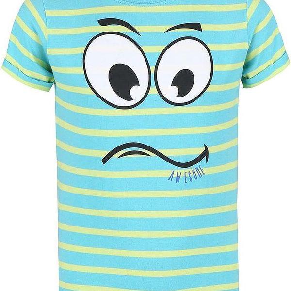 Blue Seven Chlapecké pruhované tričko s obličejem - tyrkysovo-žluté