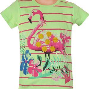 Topo Dívčí pruhované tričko s plameňákem - světle zelené