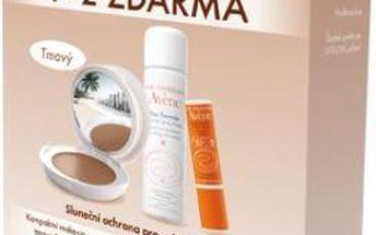 PIERRE FABRE DERMO-COSMETIQUE TCHEQUIE AVÉNE Eau Thermale sada : Kompaktní Make-up tmavý SPF 50 10g + Termální voda 50 ml + Tyčinka na rty SPF 30 3g