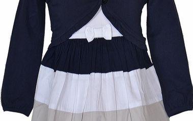 Topo Dívčí šaty s bolerkem - modro-bílé