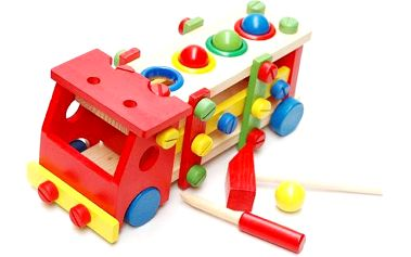 Dřevěné auto s kladívkem a šroubovákem pro děti