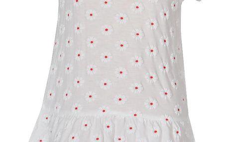 Topo Dívčí květované šaty s kamínky - bílé