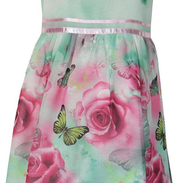 Topo Dívčí šaty s růžičkami a motýlky - mentolové