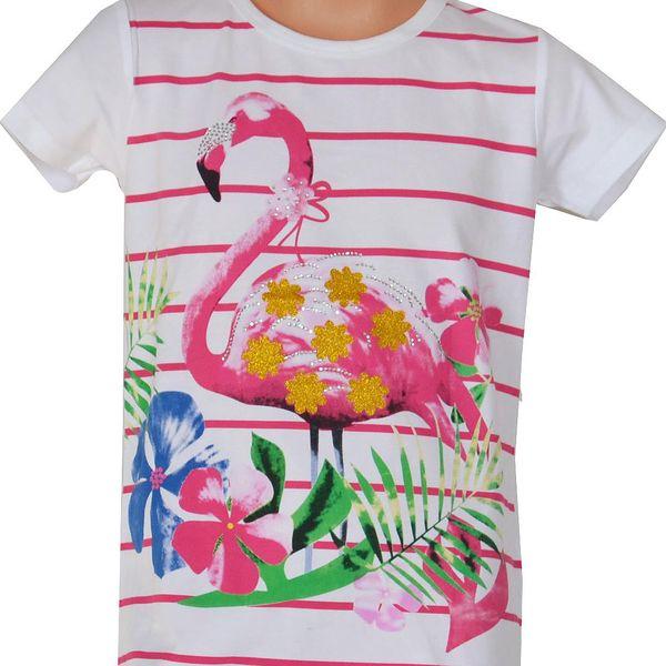 Topo Dívčí pruhované tričko s plameňákem - bílé