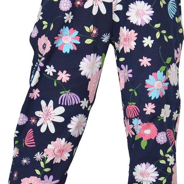 Topo Dívčí květované kalhoty - tmavě modré