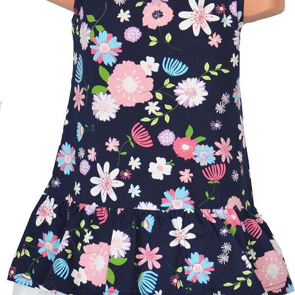 Topo Dívčí květované šaty s volánkem - tmavě modré