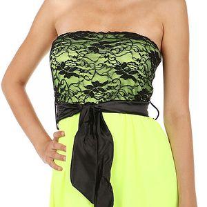 Krásné šaty s delším zadním dílem neon žlutá