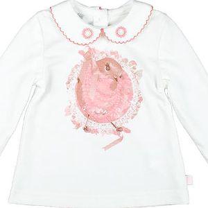 MMDadak Dívčí kabátek s ptáčkem - bílý