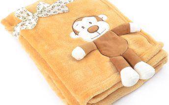 Dětská deka s aplikací HUG ME opička 75x100 cm Essex