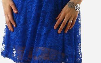 Dámské krajkové šaty bez ramínek modrá