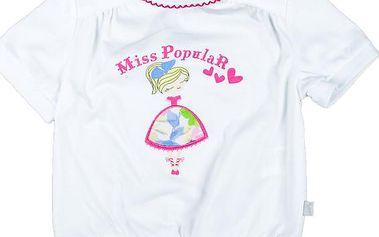 MMDadak Dívčí tričko s potiskem tanečnice Miss Popular - bílé