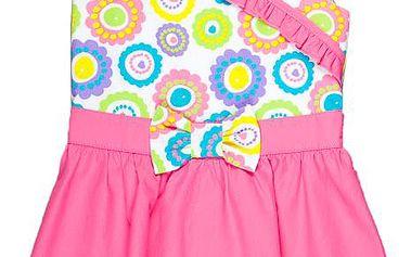 MMDadak Dívčí tunika s mašlí Smile - růžovo-bílá