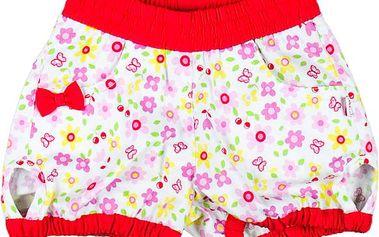 MMDadak Dívčí květované šortky s mašličkou Cerises - červeno-bílé