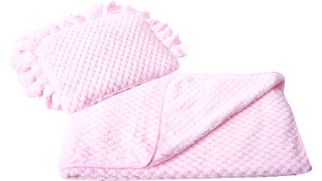 Komplet do kočárku KAYA růžový polštářek 38x28 cm s dekou 80x90 cm Mybesthome