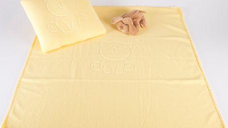 Dětská deka s tlačeným vzorem VALLY 80x90 cm žlutá Mybesthome
