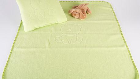 Dětská deka s tlačeným vzorem VALLY 80x90 cm zelená Mybesthome