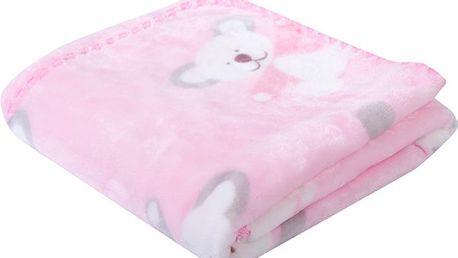 Dětská deka s medvídky BEAR růžová 80x90 cm Mybesthome