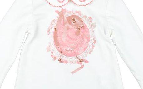 MMDadak Dívčí tunika s ptáčkem - bílá, 104 cm
