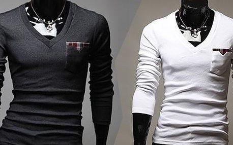 Moderní pánský Slim - fit svetr s dlouhým rukávem