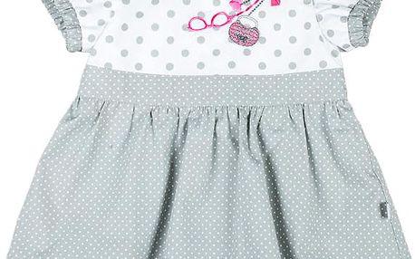 MMDadak Dívčí puntíkovaná tunika Shopping - šedo-bílá