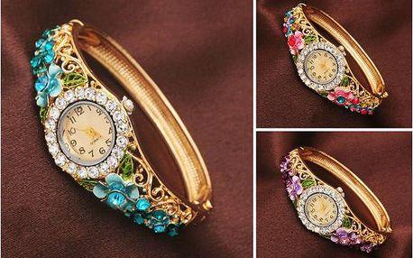 Dámské hodinky s květinovou aplikací Romantic