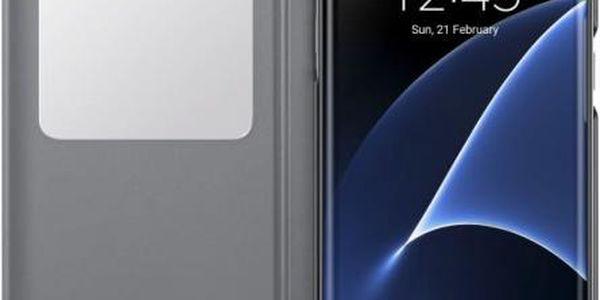 Pouzdro na mobil flipové Samsung pro Galaxy S7 Edge (EF-CG935P) (EF-CG935PSEGWW) stříbrné