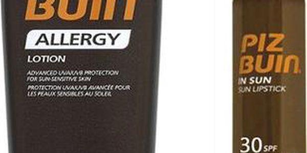 Piz Buin Set sluneční ochrany Mléko na opalování SPF 15 + Ochranný balzám na rty SPF 30 Zdarma