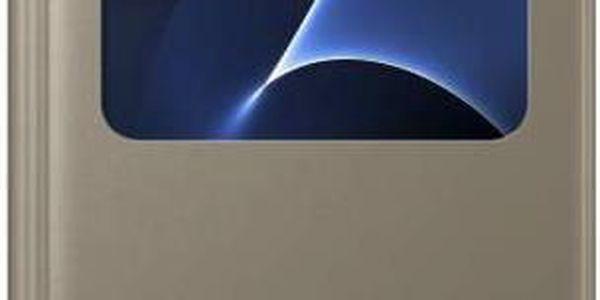 Pouzdro na mobil flipové Samsung S-View pro Galaxy S7 (EF-CG930P) (EF-CG930PFEGWW) zlaté