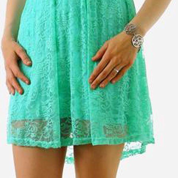 Dámské krajkové šaty bez ramínek světle zelená