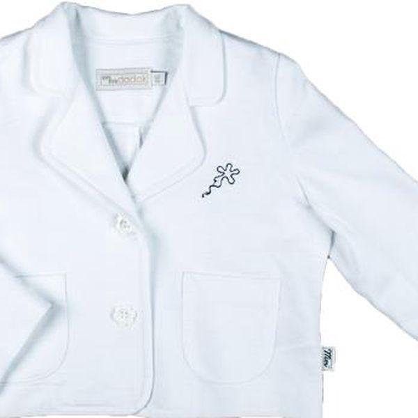 MMDadak Dívčí sako s výšivkou kytičky Pomněnky - bílé
