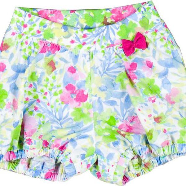 MMDadak Dívčí květované šortky s mašličkou Miss Popular - barevné