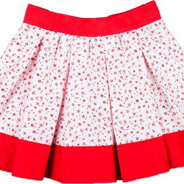 MMDadak Dívčí vzorovaná sukně Kvítky - červeno-bílá
