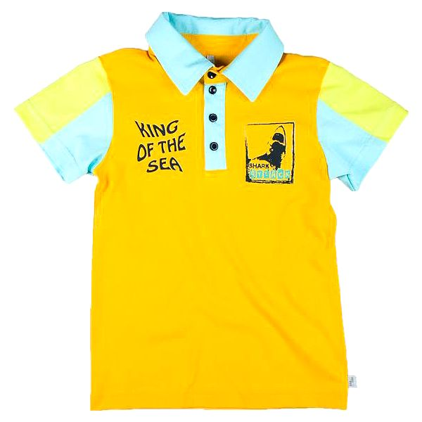 MMDadak Chlapecké polo tričko s potiskem Shark - žluté