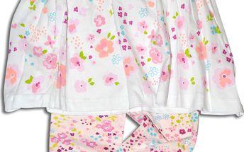 Minoti Dívčí květované šaty a legíny Lovely - bílé