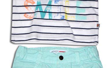 Minoti Chlapecký set - tričko a kraťasy SURF 1- bílo-modrý