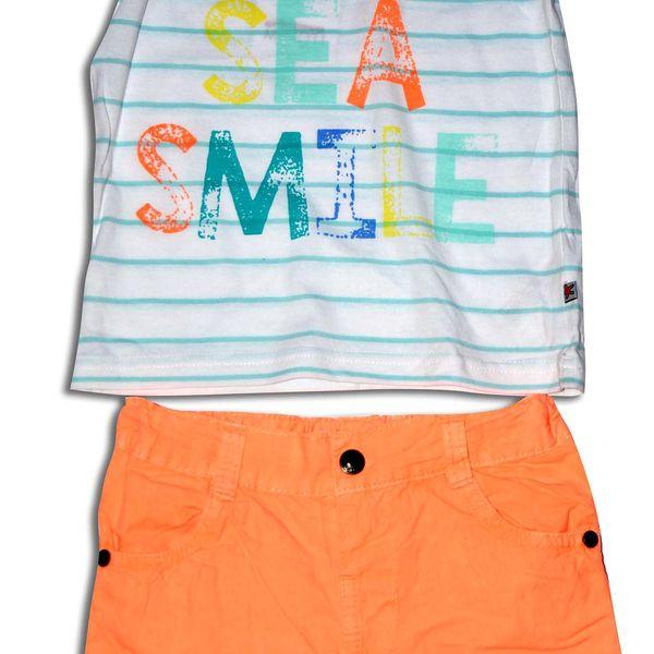 Minoti Chlapecký set - tričko a kraťasy SURF 1- bílo-oranžový