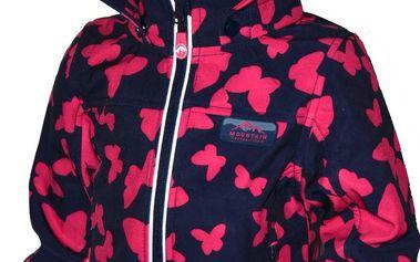 Bugga Dívčí funkční softshellová bunda s motýlky - barevná, 122 cm