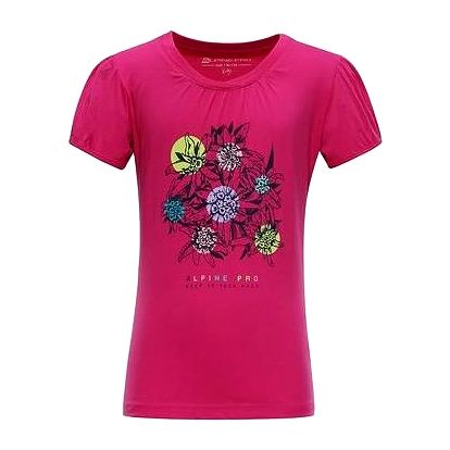 ALPINE PRO Dívčí tričko s potiskem SILVA 3- růžové