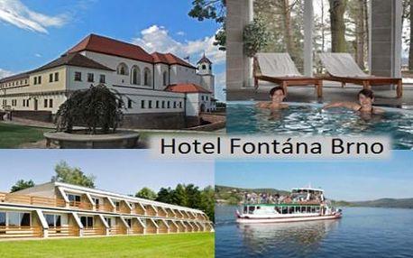 Pohoda u Brněnské přehrady. Hotel Fontána s bazénem, wellness a polopenzí. Dítě do 12 let zdarma!