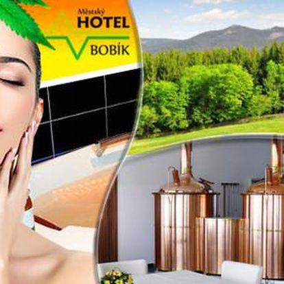 Největší konopné lázně v Evropě s dítětem do 12 let zdarma a polopenzí v Hotelu Bobík s vlastním minipivovarem